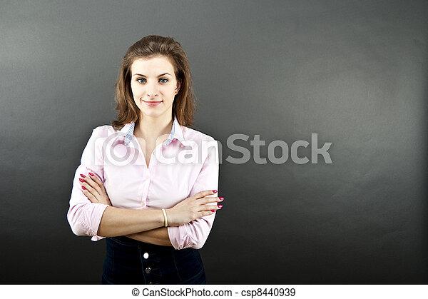 woman on black background - csp8440939