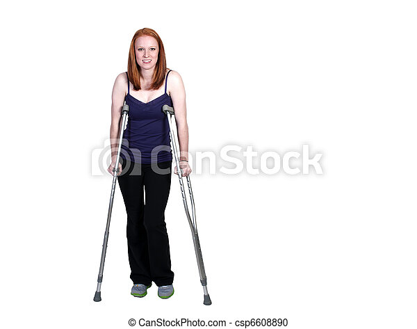 Woman on Crutches - csp6608890