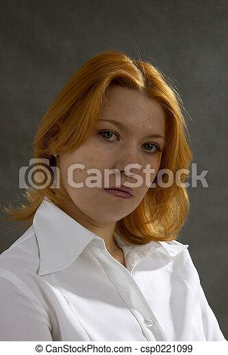 woman on dark background - csp0221099