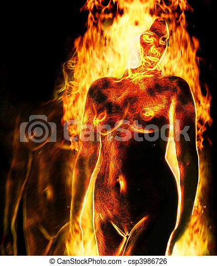 on fire woman Nude