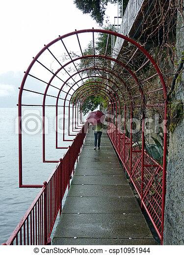 woman on red bridge - csp10951944