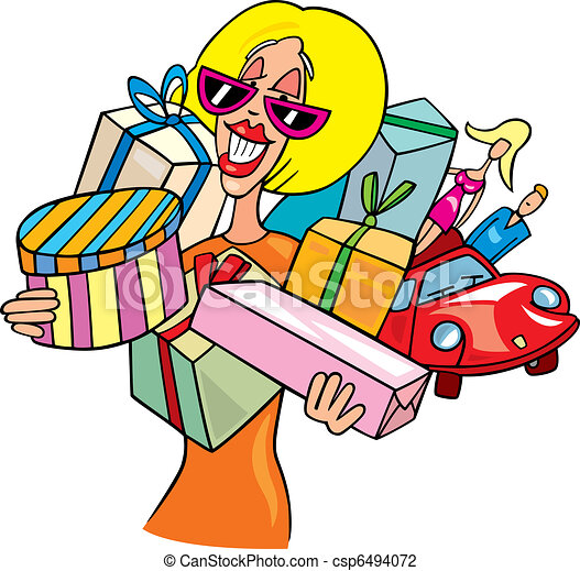 cartoon illustration of woman on shopping vector illustration rh canstockphoto com clipart shopping bag clip art shopping spree