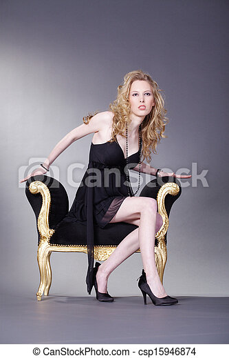 woman on stool - csp15946874