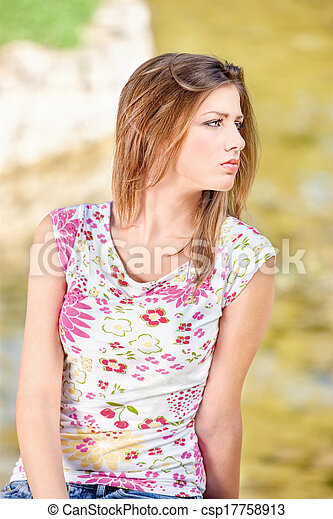 woman on sunny day in park - csp17758913