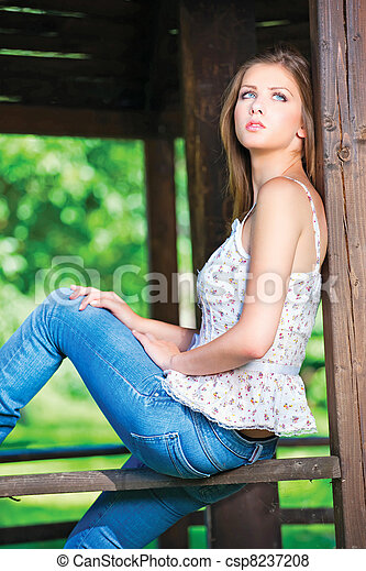 woman on sunny day in park - csp8237208