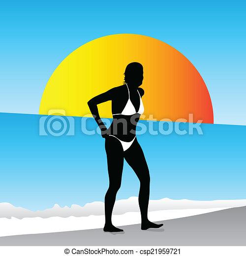 woman on the beach in a bikini - csp21959721