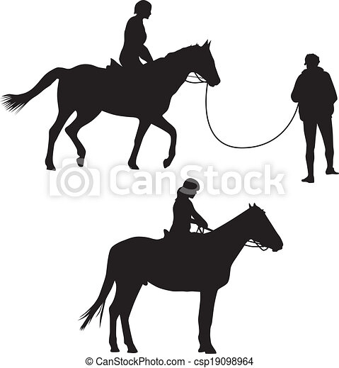 Woman on the horse silhouette vector - csp19098964