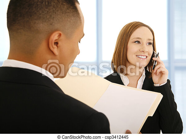 Woman On The Phone Smiling - csp3412445