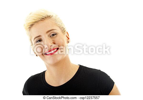 Woman on white background - csp12237557