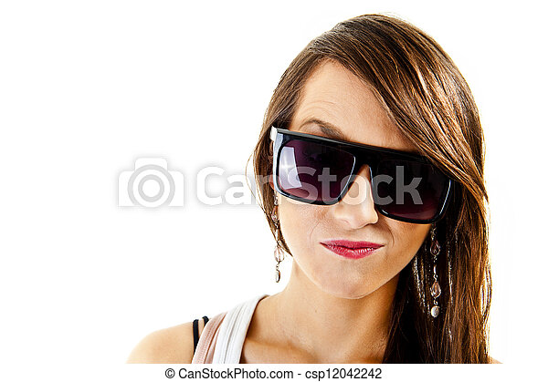 Woman on white background with sunglasses - csp12042242