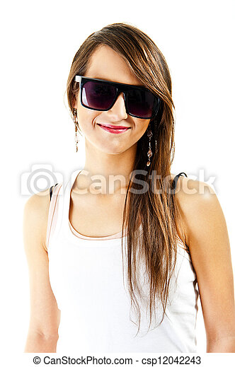 Woman on white background with sunglasses - csp12042243