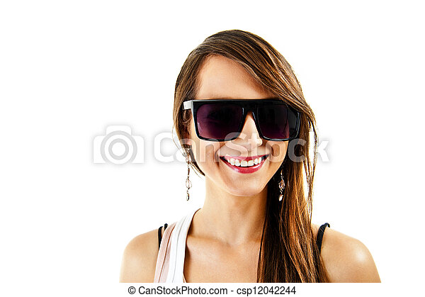 Woman on white background with sunglasses - csp12042244