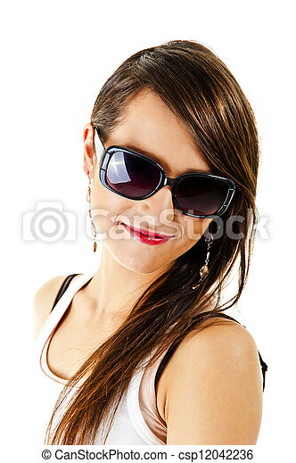Woman on white background with sunglasses - csp12042236