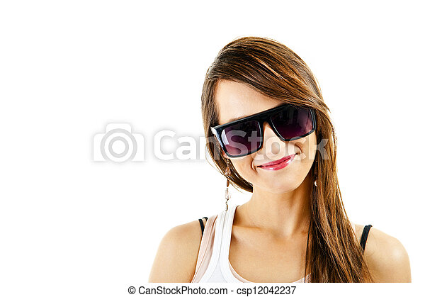 Woman on white background with sunglasses - csp12042237