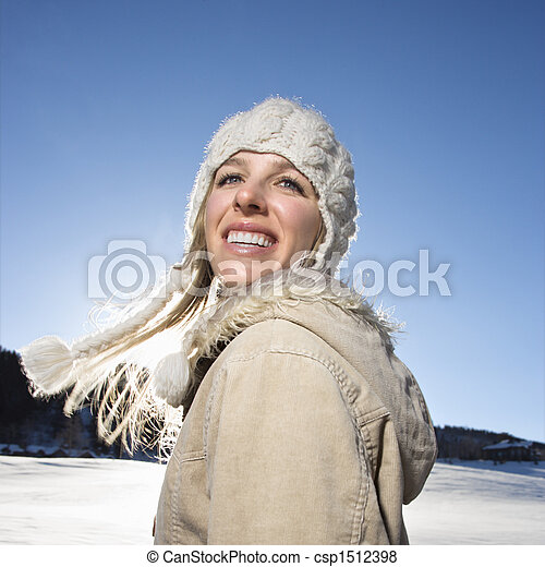 Woman outdoors in winter. - csp1512398