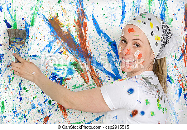 Woman painting - csp2915515