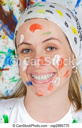 Woman painting - csp2985770