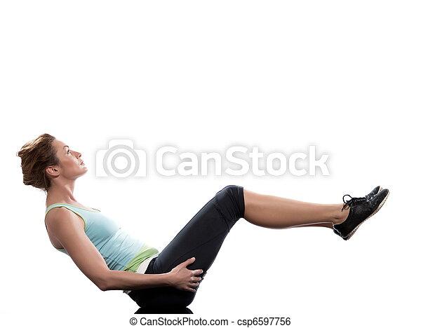 woman paripurna navasana boat pose yoga workout posture