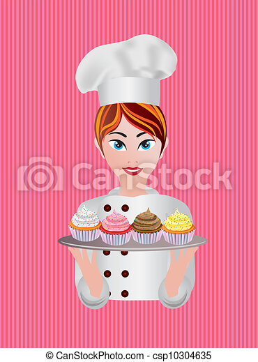 Woman Pastry Chef Illustration - csp10304635