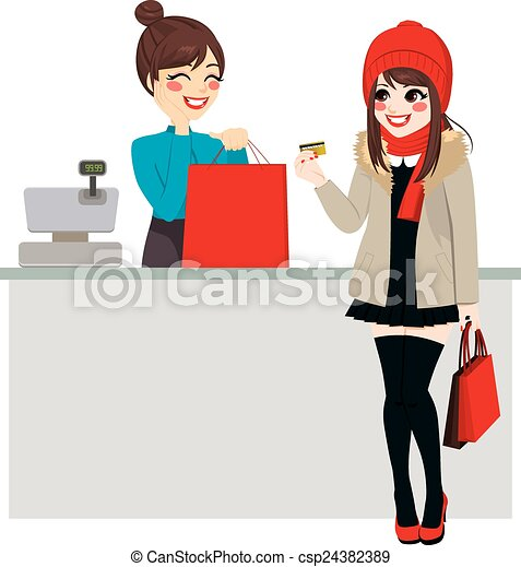 Woman Paying With Credit Card - csp24382389