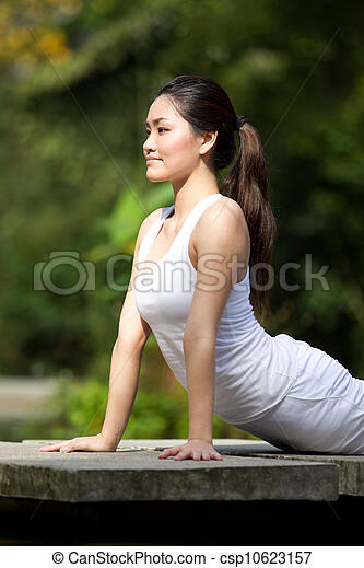 Woman performing yoga - csp10623157