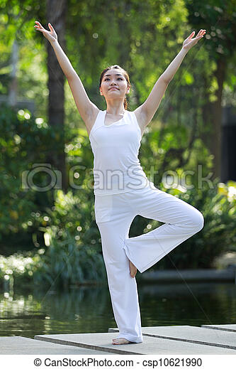 Woman performing yoga - csp10621990