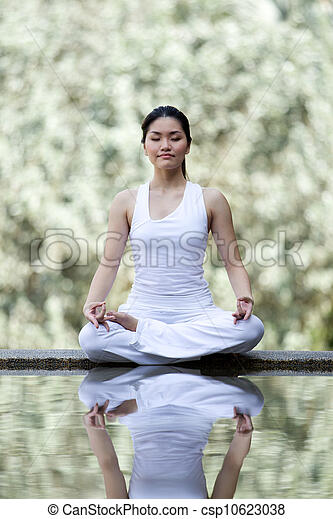 Woman performing yoga - csp10623038