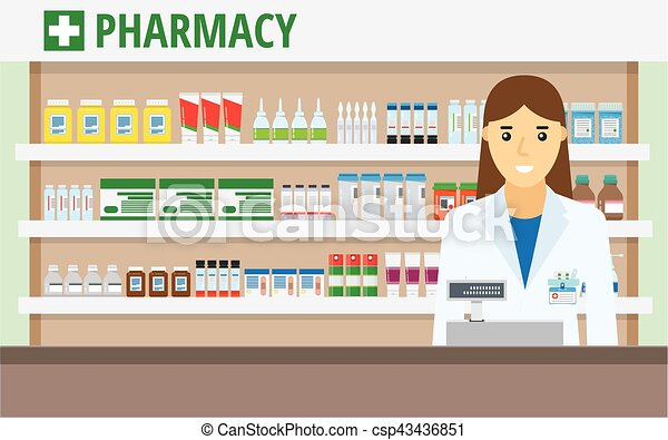 woman pharmacist at the counter in a pharmacy opposite the rh canstockphoto com pharmacy clip art free pharmacy clip art photos