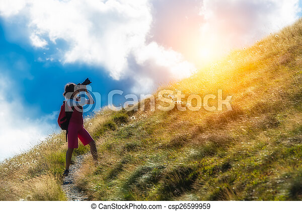 woman photographer in the mountains - csp26599959