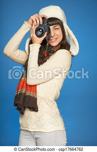 Woman photographer making picture of you - csp17664762