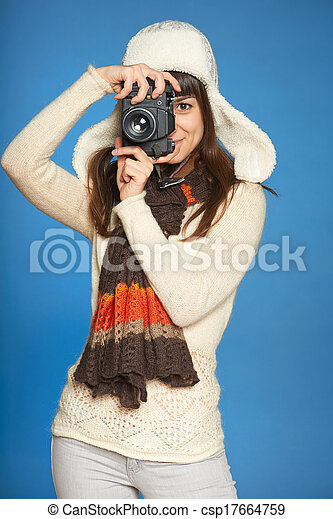 Woman photographer making picture of you - csp17664759