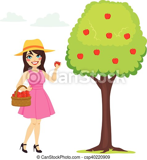 woman picking apple beautiful young brunette woman holding rh canstockphoto com  apple picking basket clipart