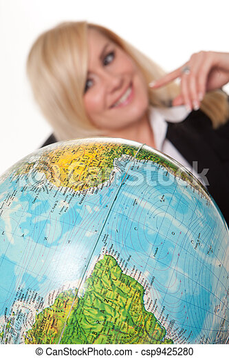 Woman planning her dream holiday - csp9425280