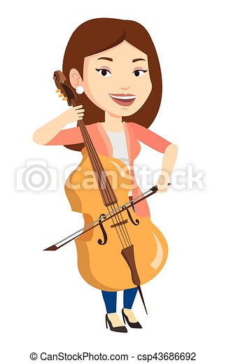Woman Playing Cello Vector Illustration
