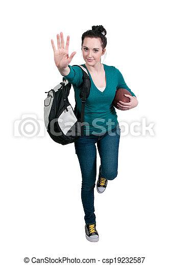 Woman Playing Football - csp19232587