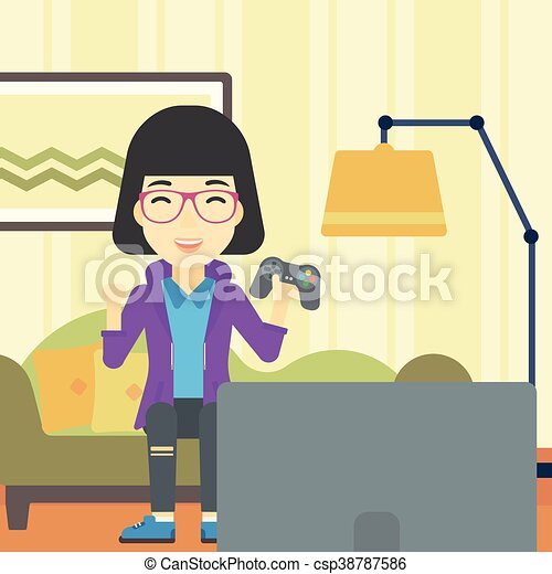 Woman Playing Video Game Vector Illustration An Asian Happy Gamer