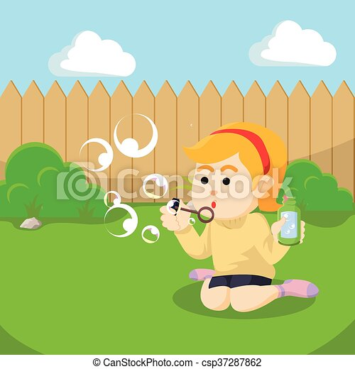 woman playing with soap bubble - csp37287862