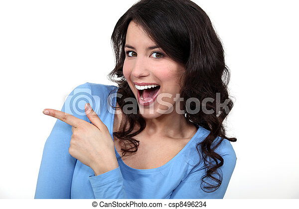 Woman pointing and laughing - csp8496234