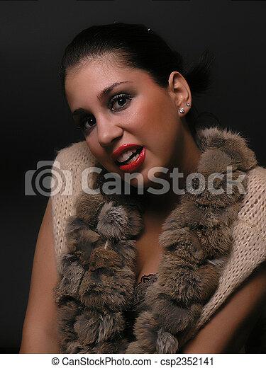 Woman Portrait on dark background - csp2352141