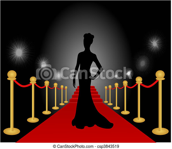 Woman Posing Red Carpet Vector - csp3843519