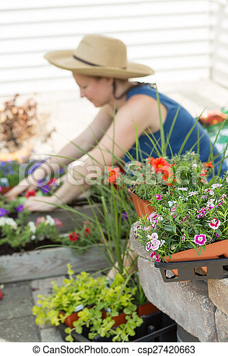 Woman potting plants on a hot spring day - csp27420663