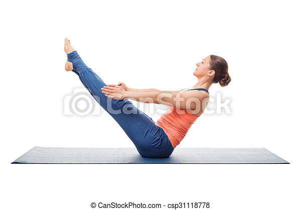 woman practices yoga asana paripurna navasana beautiful