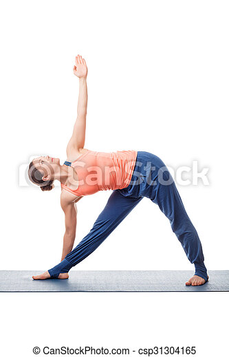 woman practices yoga asana utthita trikonasana beautiful
