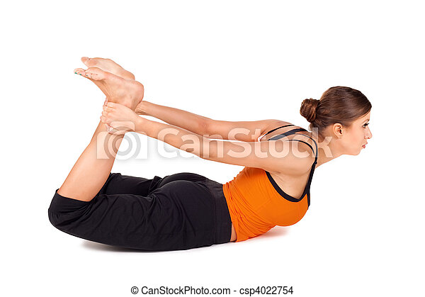 woman practicing yoga exercise called bow pose woman