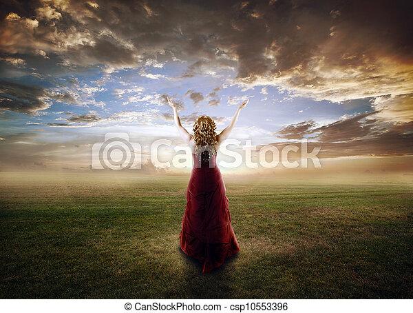 Woman praising - csp10553396
