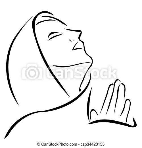 Woman Praying Looking Up At The Sky Vector