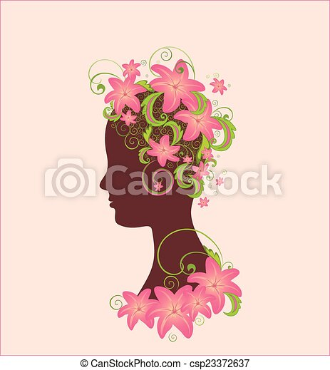 Woman profile with flower - csp23372637