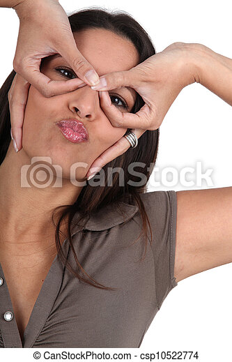 Woman pulling silly face - csp10522774