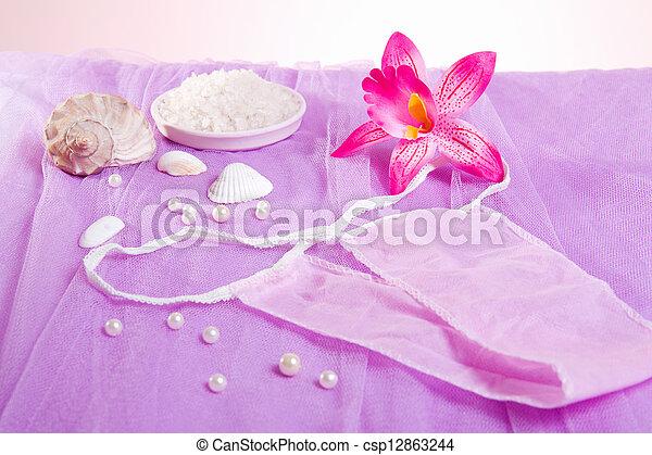 woman purple spa disposable panties for depilation - csp12863244