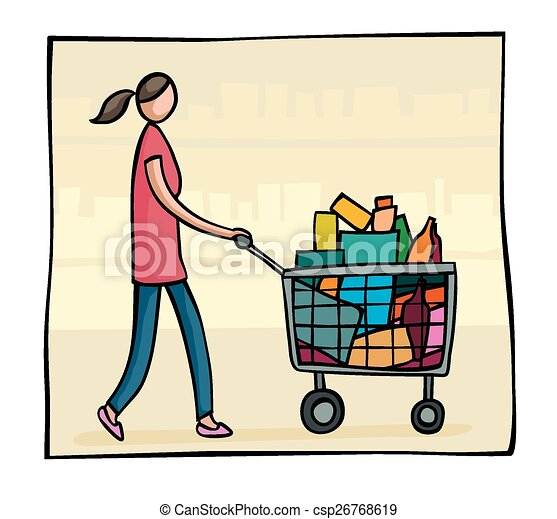 cartoon style image of a woman pushing a shopping trolley vector rh canstockphoto ca shopping trolley clipart clipart trolley car